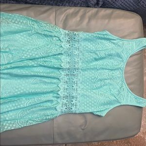 Turquoise Dress with lace cutout around waist